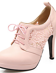 Women's Heels Novelty Ankle Strap Leatherette Spring Summer Fall Winter Casual Dress Party & Evening Novelty Ankle StrapLace-up Flower