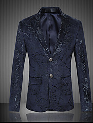 cheap -Men's Plus Size / Going out / Party/Cocktail Vintage / Street chic / Chinoiserie All Seasons Blazer,Animal Print V Neck Long Sleeve Blue