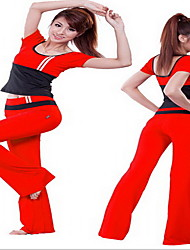 economico -Per donna Tuta da ginnastica Manica corta Traspirante T-shirt Pantalone/Sovrapantaloni Set di vestiti Top per Yoga Esercizi di fitness
