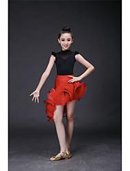 Latin Dance Dresses Children's Performance Organza Velvet Ruffles Crystals/Rhinestones 1 Piece Sleeveless High Dress