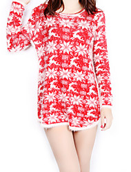 Women's Going out / Casual/Daily Cute / Street chic Sheath DressPrint Snow Large Size Round Neck Above Knee Long Sleeve