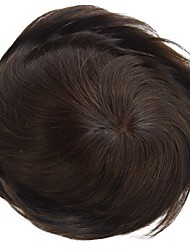 Replacement Systems Mono Lace and pu Poly Around Natural Color Hair Toupee Mens Hair Piece Stock 120% Density
