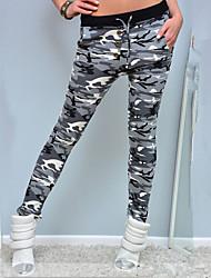 abordables -las mujeres imprimen legging, poliéster camuflaje. ocio. Moda. pantalones deportivos