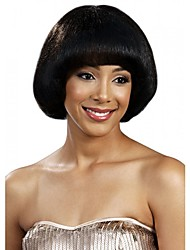Χαμηλού Κόστους -Συνθετικές Περούκες Ίσιο Στυλ Κούρεμα καρέ Χωρίς κάλυμμα Περούκα Μαύρο Συνθετικά μαλλιά Γυναικεία Περούκα Φυσική περούκα / Ναι