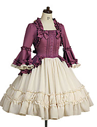 One-Piece/Dress Sweet Lolita Princess Cosplay Lolita Dress Solid Poet Long Sleeve Knee-length Dress For Cotton