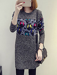 Women's Plus Size / Casual/Daily Simple Shift Dress,Print Round Neck Above Knee Long Sleeve Black / Brown Rayon / Polyester Fall / Winter