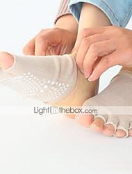 Жен. Носки Спортивные носки Носки с пальцами Нескользящие носки Йога Пилатес Дышащий Пригодно для носки Удобный Защитный Анти-скольжение-