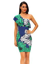 Femme volant Moulante Robe Soirée Sexy,Fleur Une Epaule Mi-long Manches Courtes Vert Polyester/Spandex Eté Taille Haute Elastique Fin
