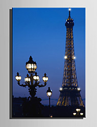 E-HOME® Stretched LED Canvas Print Art Under the Lamp Tower LED Flashing Optical Fiber Print One Pcs