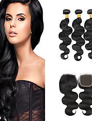baratos -3 pacotes Cabelo Indiano Onda de Corpo Cabelo Virgem Cabelo Humano Ondulado 8-28 polegada Tramas de cabelo humano 4x4 Encerramento 7a Extensões de cabelo humano