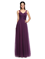 cheap -A-Line V Neck Floor Length Tulle Bridesmaid Dress with Criss Cross / Ruched / Flower by LAN TING BRIDE®