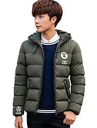 cheap -Men's Regular Padded Coat,Cute Casual Street chic Daily Going out Plus Size Solid-Polyester Cotton Long Sleeves Hooded