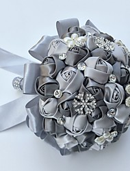 Bouquet sposa Tondo Rose Bouquet Matrimonio Partito / sera Raso Seta Perline Strass