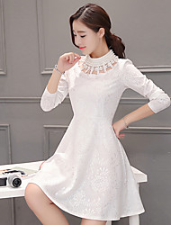Sign 2016 winter new Slim small fragrant wind doll collar ladies fashion lace dress female plus velvet