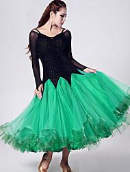 abordables -Danse de Salon Robes Femme Utilisation Organza / Velours Fantaisie / Bloc de Couleur Manches Longues Taille moyenne Robe