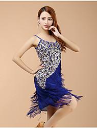 skal vi latin danse kjoler kvinders præstationer spandex paillettes kvast (er) 1 stk ærmerøs høj kjole