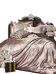 Set Copripiumino Tinta unita 4 pezzi Misto cotone Jacquard Misto cotone 1 Copripiumino Copri cuscino (2 pz.) Lenzuolo (1 pz.)