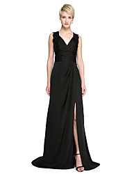 cheap -Sheath / Column V Neck Sweep / Brush Train Lace / Satin Chiffon See Through Cocktail Party / Formal Evening Dress with Side Draping / Split Front / Ruched by TS Couture®