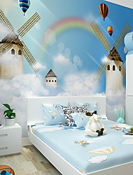 cheap -JAMMORY Art DecoWallpaper For Home Wall Covering Canvas Adhesive required Mural Children's Room Cartoon Castle Windmill XL XXL XXXL