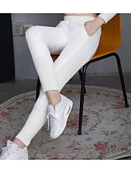 abordables -Mujer Casual Tiro Medio Microelástico Corte Recto Chinos Pantalones, Un Color Poliéster Invierno Otoño