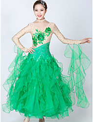 cheap -Ballroom Dance Dresses Women's Performance Spandex / Tulle Splicing / Crystals / Rhinestones Long Sleeve Dress / Neckwear