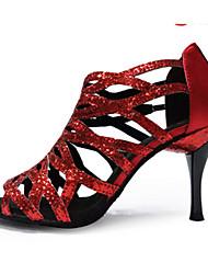 Obyčejné-Dámské-Taneční boty-Latina Jazz Salsa Swing-Pažetky-Vysoký úzký-Černá Fialová Červená Zlatá