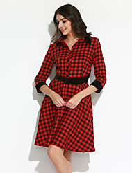 Women's Going out Street chic A Line Dress,Plaid Shirt Collar Knee-length ¾ Sleeve Red / Gray Polyester Fall