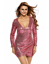 Women's Sequin Silver Ruched Sequin Long Sleeve Nightclub Dress
