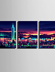 cheap -E-HOME Stretched Canvas Art Charm City Night Scene Decoration Painting Set Of 3