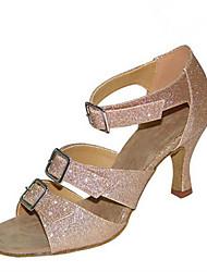 Недорогие -Для женщин Латина Джаз Сальса Обувь для свинга Бархатистая отделка Лак Сандалии На каблуках Тренировочные Для начинающих Профессиональный