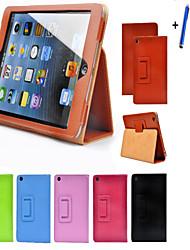 economico -Custodia in pelle opaca superficie del litchi di vibrazione per mini Apple iPad 1 2 3 tablet con protezione dello schermo libero + penna