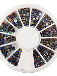 400pcs tamanho mixs decorações de arte colorido diamante prego