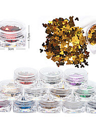 1 PCS Nail Art  Sequins In a Box Metallic Mickey's Head Sequins 3*4mm Small Size 12 Color In a Box