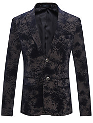 cheap -Men's Plus Size / Going out / Party/Cocktail Vintage / Street chic / Chinoiserie All Seasons Blazer,Geometric V Neck Long Sleeve Black