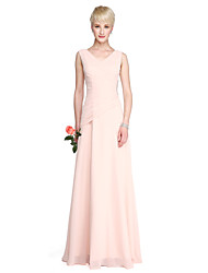 Sheath / Column V-neck Floor Length Georgette Bridesmaid Dress with Crystal Detailing Side Draping by LAN TING BRIDE®
