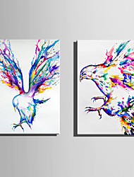 cheap -E-HOME Stretched Canvas Art Colorful Eagle Decoration Painting Set Of 2