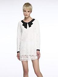 billige -Dame Plusstørrelser Løstsiddende Blonde Kjole - Ensfarvet, Krøllede Folder Mini