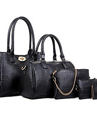 baratos -Mulheres Bolsas Couro Ecológico Conjuntos de saco Flor Ziper para Formal Escritório e Carreira Todas as Estações Azul Preto Fúcsia Vinho