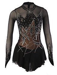 cheap -Figure Skating Dress Women's Girls' Ice Skating Dress Black Spandex Rhinestone Sequined High Elasticity Performance Skating Wear Handmade