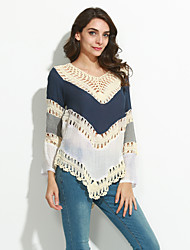 Women's Boho Patchwork Hollow Out Print Loose Round Neck Long Sleeve Blouse