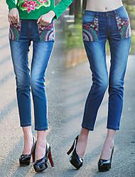 assinar novo 2015 novo desgaste bordado branco lavado patch bolso denim jeans reta meia-calça feminina 0