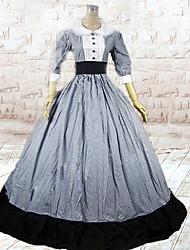 One-Piece/Dress Classic/Traditional Lolita Lolita Cosplay Lolita Dress Gray Patchwork 3/4-Length Sleeve Floor-length Dress For Women Cotton