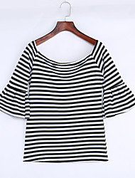 cheap -Women's Fine Stripe|Flare Sleeve Black White Stripes Off-the-shoulder Top