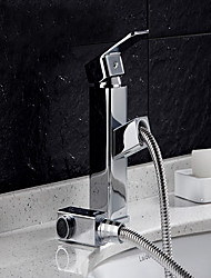 cheap -Contemporary Centerset Rain Shower Ceramic Valve Single Handle One Hole Chrome , Bathroom Sink Faucet