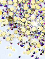 cheap -New Arrival GOLD AB Color Shiny 3D Nail Art Decoration Flat Back Rhinestone Mini Shape Glitter Gem Different Size NJ245