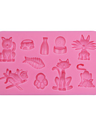 cheap -Cat and Fish Square Silicone 3D Mold Cookware Dining Bar Non-Stick Cake Decorating Fondant Mould Tools SM-047