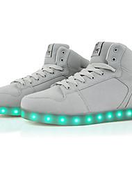 Для женщин Обувь Полиуретан Зима Осень Удобная обувь Спортивная обувь На плоской подошве Круглый носок LED Назначение Атлетический Белый