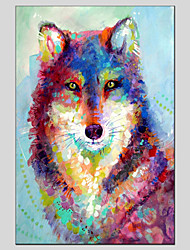 cheap -Oil Painting Hand Painted - Animals Classic Modern Canvas