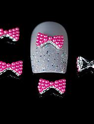 10pcs subiu contas vermelhas gravata borboleta desenho liga prego 3d nail art decoração diy