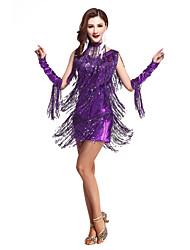Devemos roupas de dança latina desempenho feminino borracha acrílica (s) shorts de vestido alto sem mangas